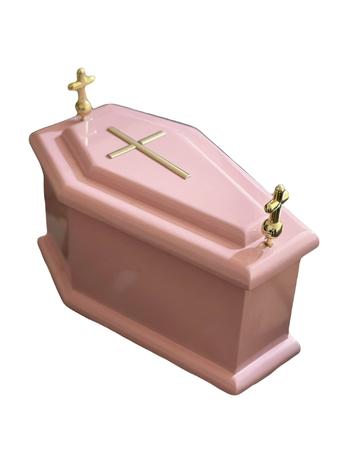Różowa trumienka dziecięca, różowa trumienka urna na płód skrzypce dł.wew. 20 cm (1)